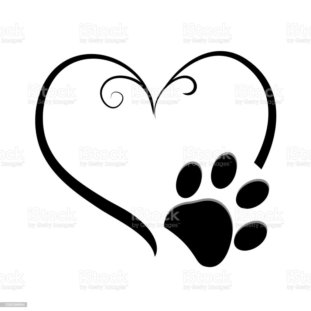 Dog Paw Prints With Heart Symbol Tattoo Design Stock