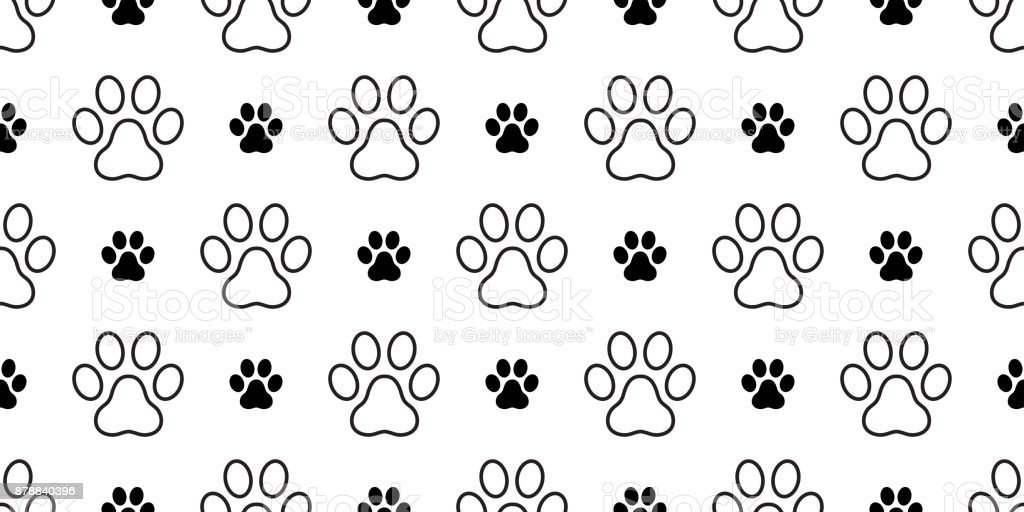 Dog Paw Puppy Cat Kitten Foot Print Vector Seamless Pattern Wallpaper Background Royalty Free