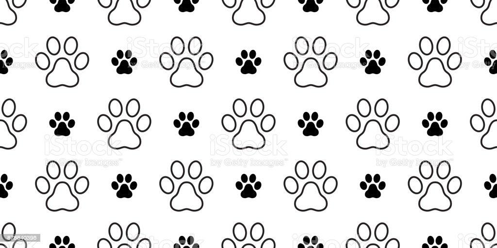 Dog Paw Puppy Cat Paw Kitten Foot Print Vector Seamless Pattern ...