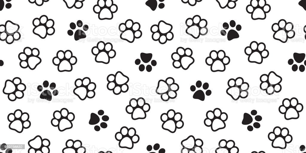 Dog Paw Seamless Pattern Cat Paw Vector Foot Print Kitten Puppy ...