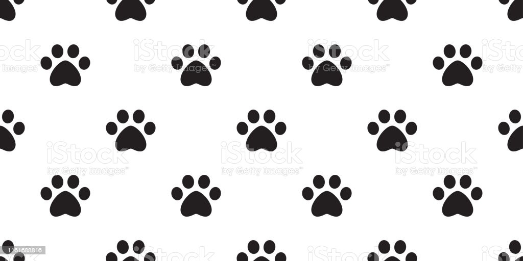 Dog Paw seamless pattern footprint vector cat pet scarf isolated...