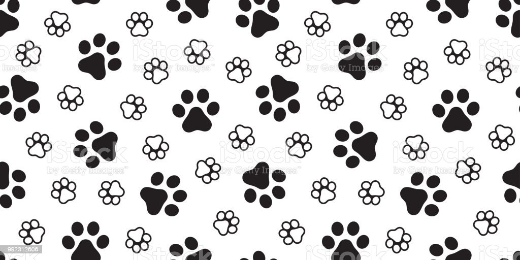 Dog Paw Seamless Pattern Footprint Vector French Bulldog Scarf ...