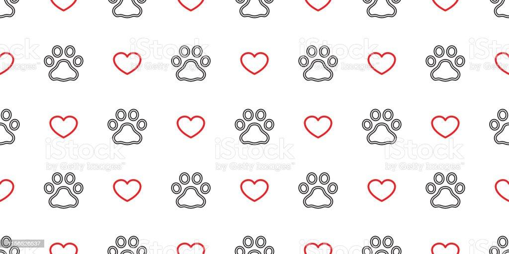 Dog Paw seamless pattern footprint vector heart valentine pet cat...