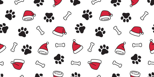 dog paw seamless pattern vector christmas santa claus xmas hat french bulldog bone tile background scarf isolated repeat wallpaper illustration cartoon - wood texture stock illustrations