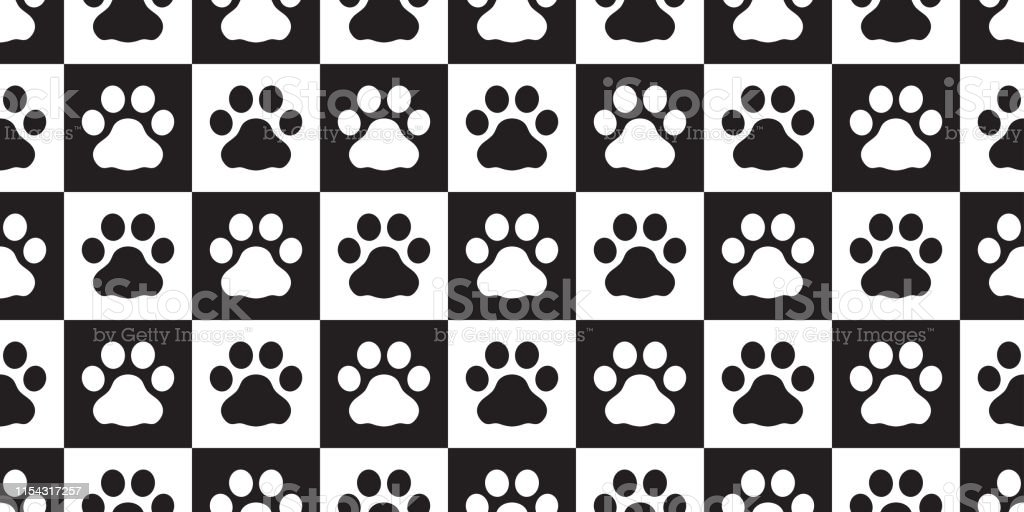 Dog Paw seamless pattern vector footprint cat pet checked scarf...