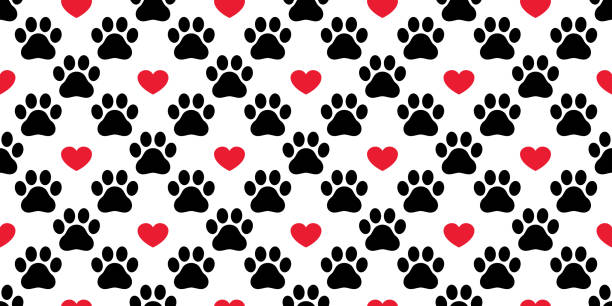 Dog Paw seamless pattern vector footprint heart valentine cat kitten puppy bear scarf isolated cartoon repeat wallpaper tile background illustration Dog Paw seamless pattern vector footprint heart valentine cat kitten puppy bear scarf isolated cartoon repeat wallpaper tile background illustration animal valentine stock illustrations