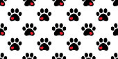 Dog Paw seamless pattern vector heart footprint pet scarf isolated cartoon cat repeat wallpaper tile background