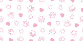 Dog Paw seamless pattern vector heart french bulldog valentine footprint cartoon tile background repeat wallpaper scarf isolated illustration gift wrap pink