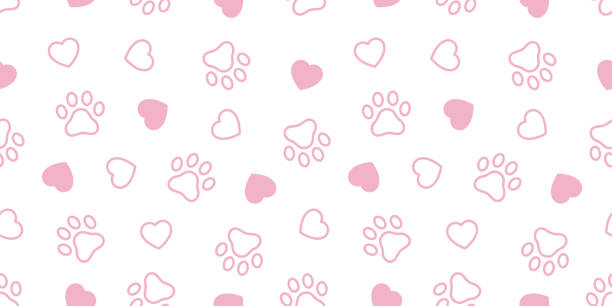 dog paw seamless pattern vector heart french bulldog valentine footprint cartoon tile background repeat wallpaper scarf isolated illustration gift wrap pink - animals background stock illustrations