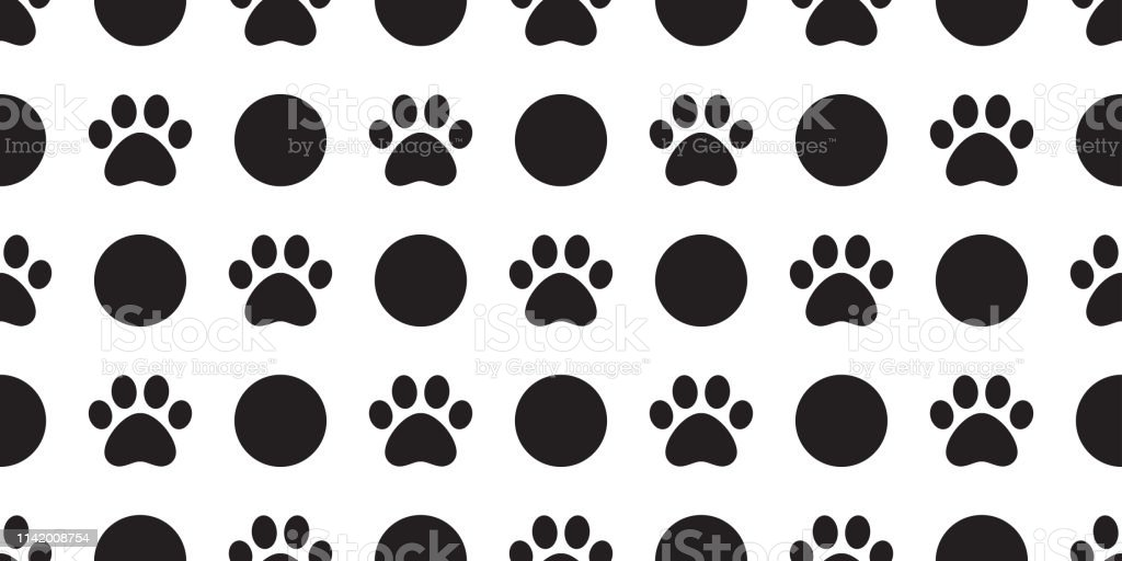 Dog Paw seamless pattern vector polka dot footprint pet scarf...