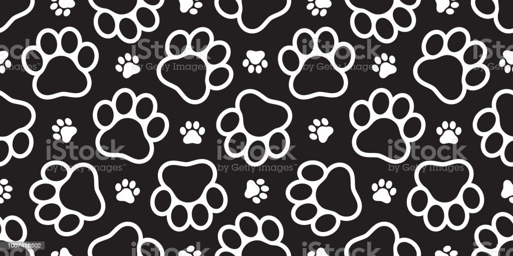 Dog Paw Seamless Vector Footprint Pattern Kitten Puppy Tile Background Repeat Wallpaper Isolated Illustration Cartoon Black Stock Illustration Download Image Now Istock