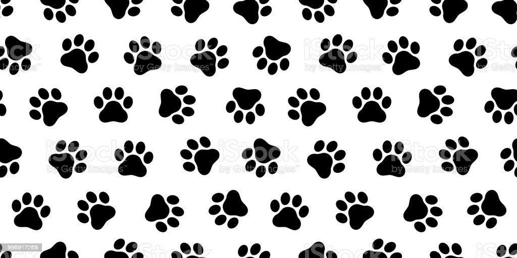 Dog Paw Seamless Vector Pattern Foot Print Kitten Puppy Tile