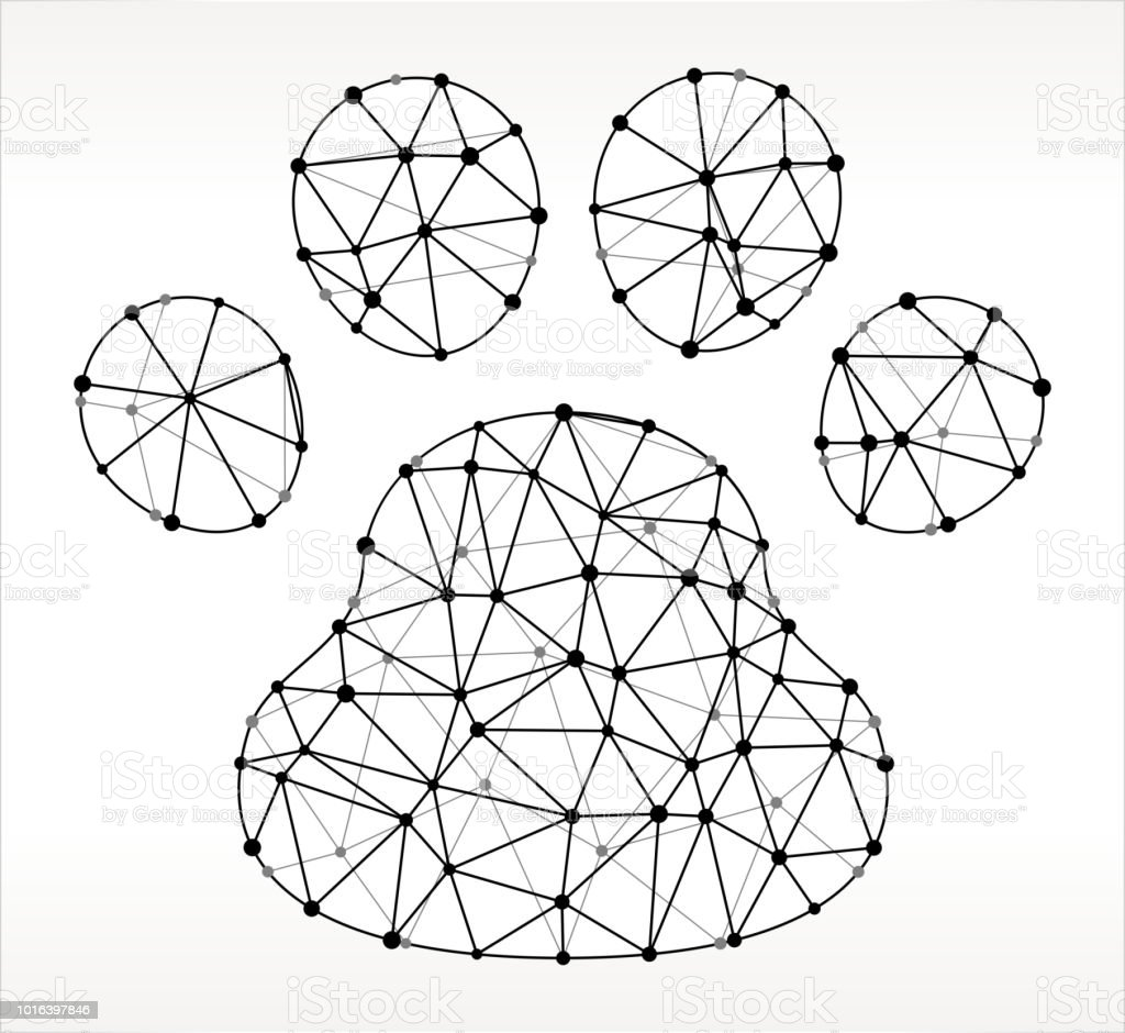 Dog Paw Triangle Node Black and White Pattern. The main object...