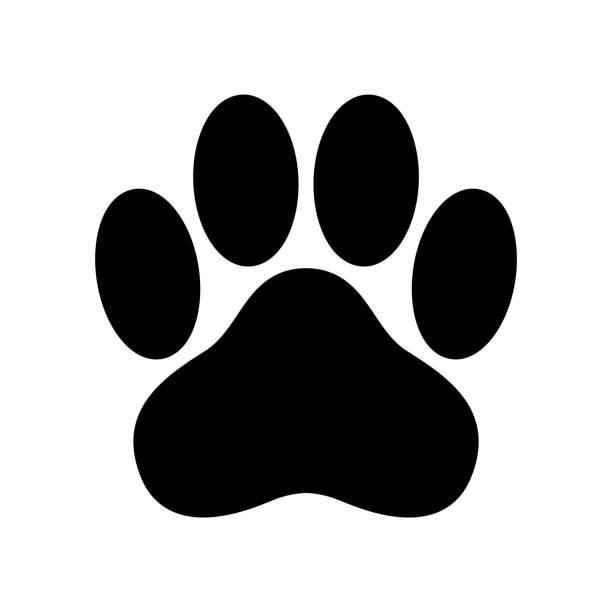 dog paw vector icon logo footprint cat bear cartoon illustration clip art french bulldog - dog stock illustrations