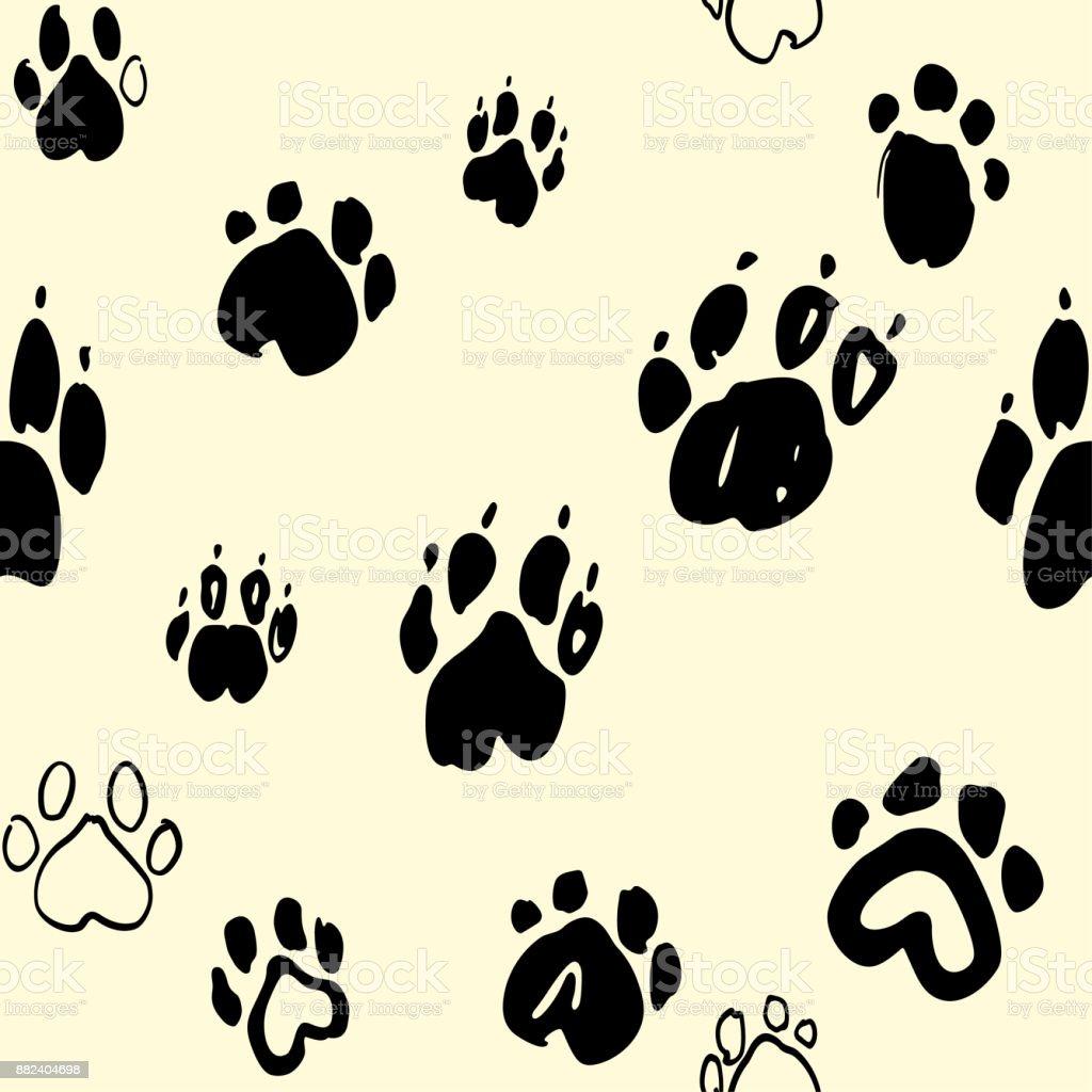 Ilustración de Perro Patas De Patrones Sin Fisuras La Huella y más ...