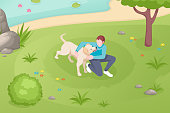 Dog pet and owner playing at grass lawn in park, vector isometric illustration. Girl woman or boy man cuddle and caress dog pet at park lake, domestic animals care and daily life