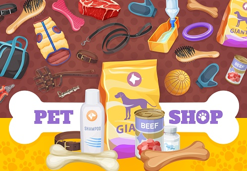 Dog pet care, toys and food poster, vector