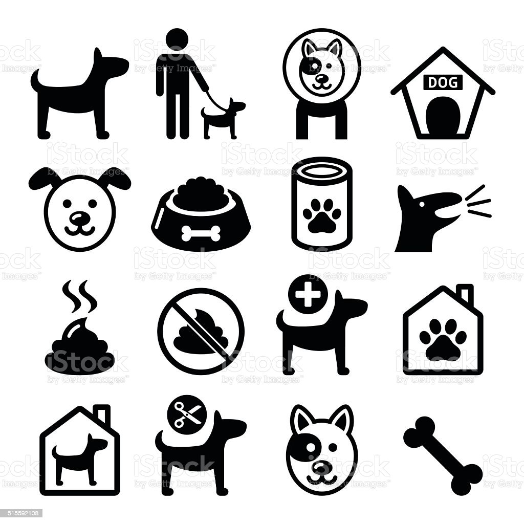 Dog, pet icons set - vet, dog's food, dog hotel vector art illustration