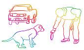 Dog Playing Frisbee Rainbow