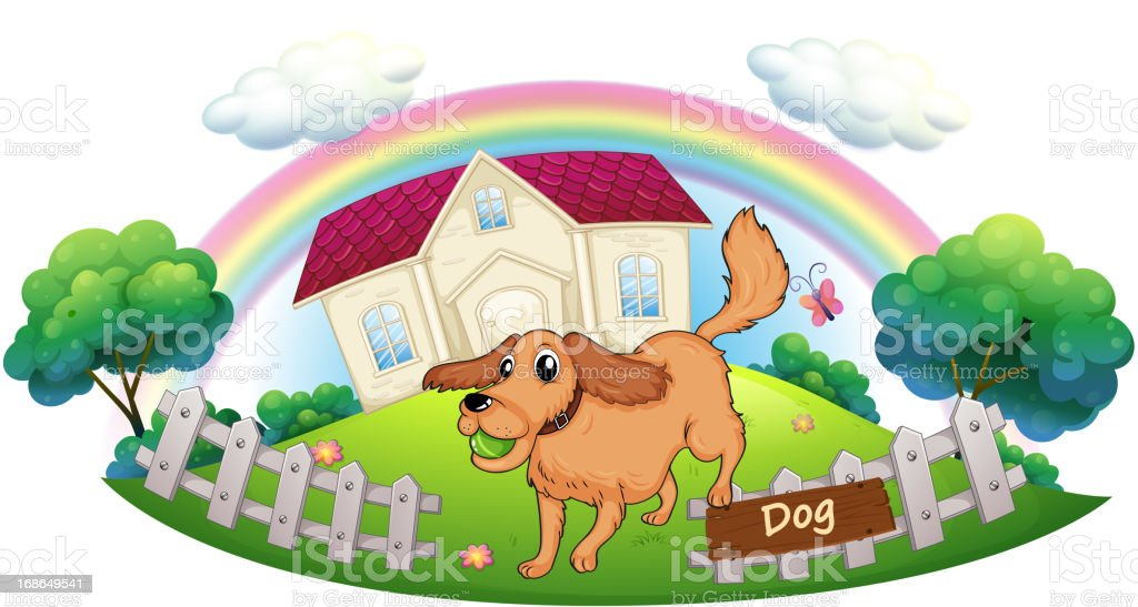 Dog playing in front of a house royalty-free dog playing in front of a house stock vector art & more images of animal