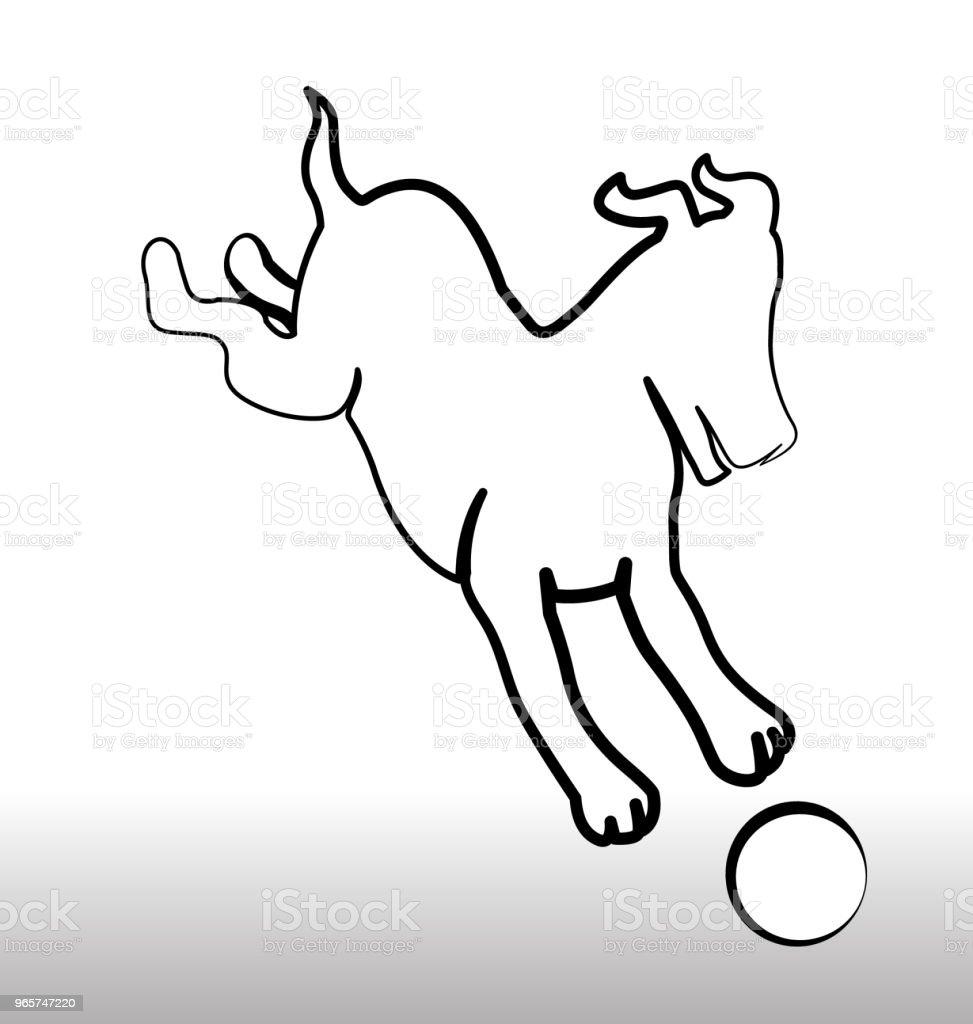 Hond spelen met een bal pictogram silhouet - Royalty-free Advertentie vectorkunst