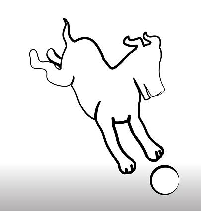 Hond Spelen Met Een Bal Pictogram Silhouet Stockvectorkunst en meer beelden van Advertentie
