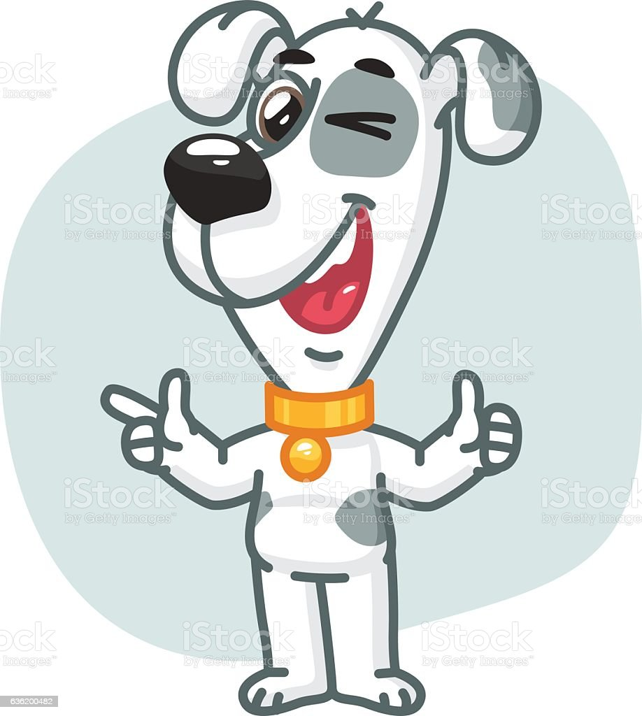 Dog Points and Showing Thumbs Up vector art illustration