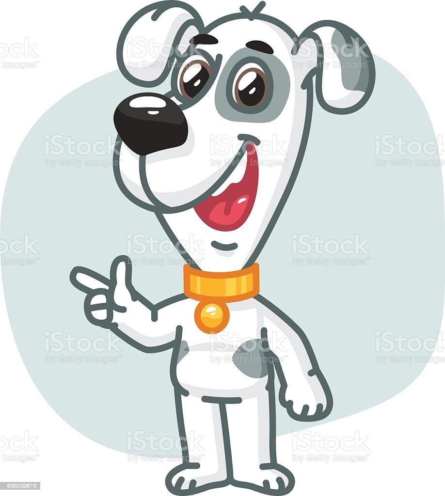 Dog Points His Finger and Smiling vector art illustration