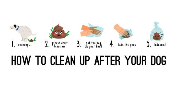 Dog poo clean up vector art illustration