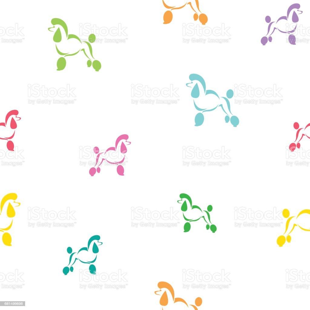 犬プードル ベクトル アート背景デザインのファブリックと装飾