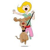 Dog Pulling Woman