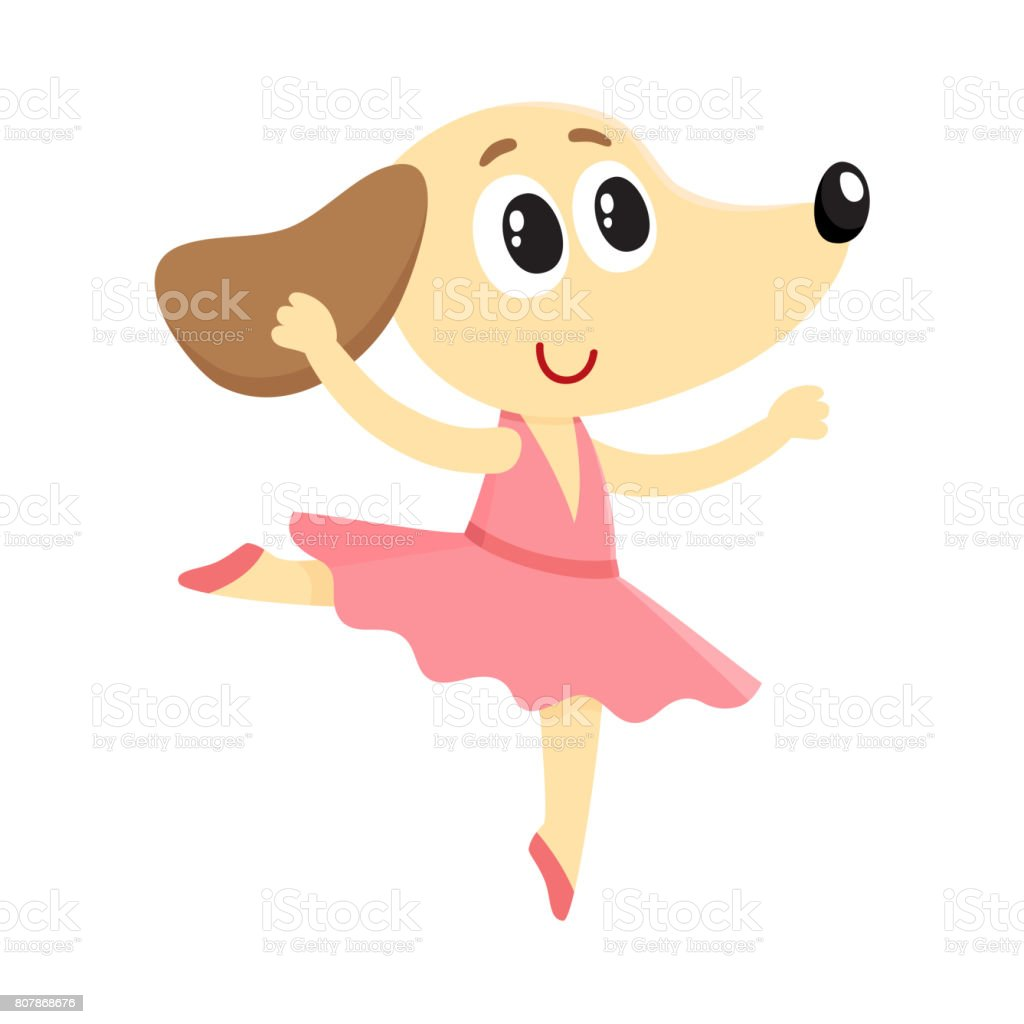 Dog Puppy Character Ballet Dancer In Pointed Shoes Tutu ...