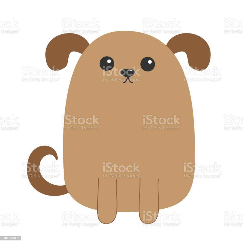 Dog puppy. Cute cartoon character. Funny face head. Pet baby collection. Eyes, nose, eyes, tail. Isolated. White background. Flat design. vector art illustration