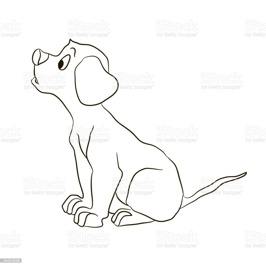 Dog , Puppy, Looking Forward . Animals Coloring Pages Cartoon Vector  Illustration Royalty Free