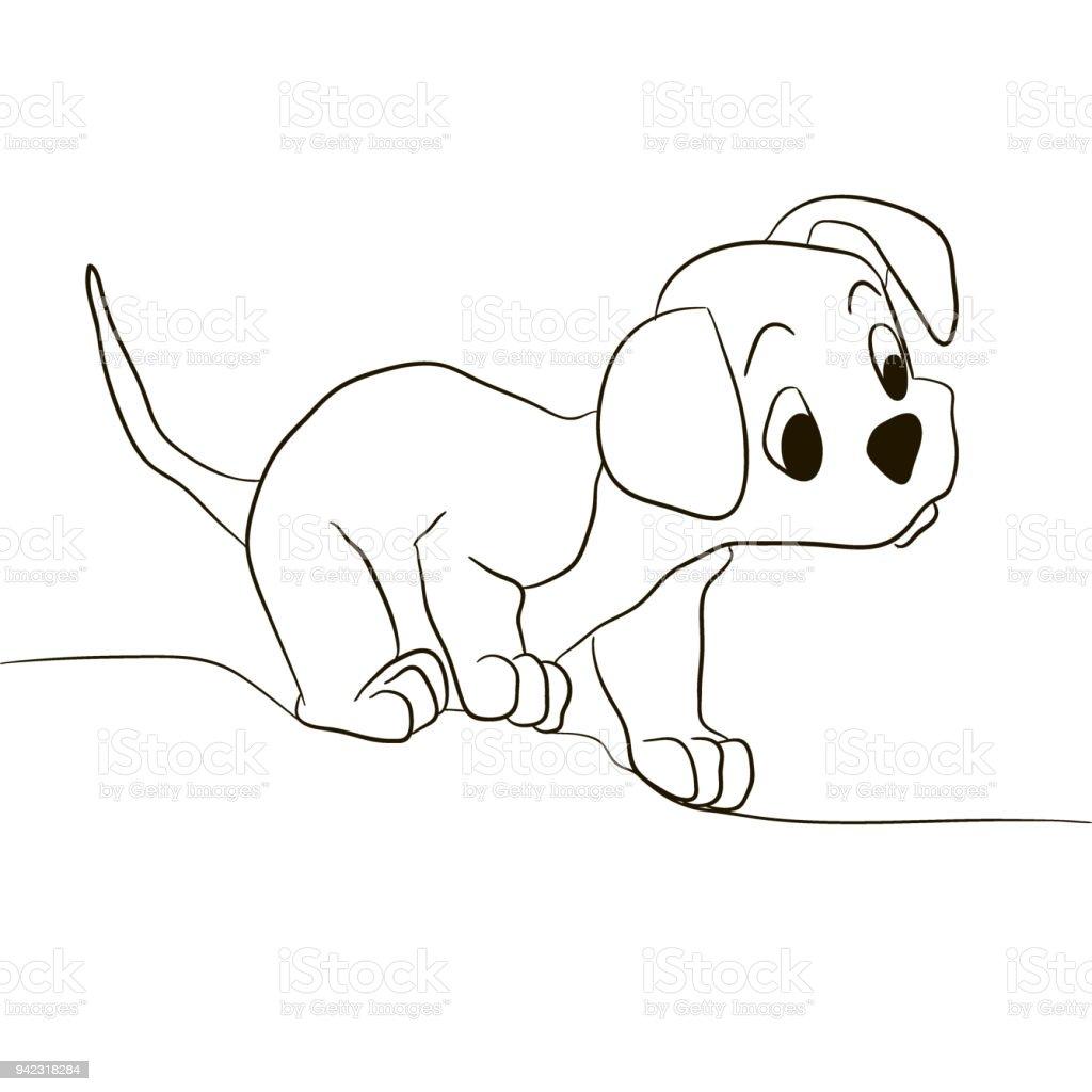 Ilustración De Perro Perrito Mirando Hacia Adelante Vector