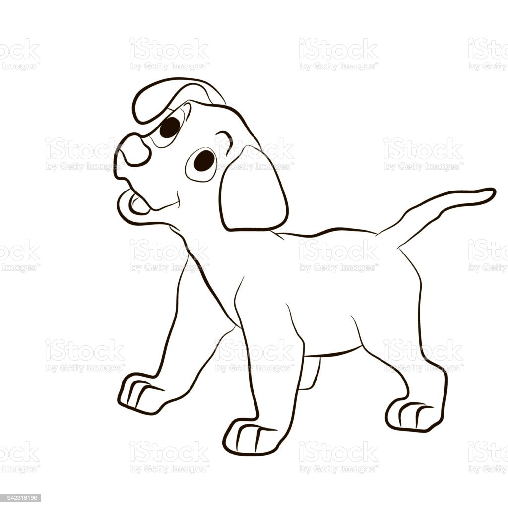 Attractive Dog , Puppy Smiling Funny . Animals Coloring Pages Cartoon Vector  Illustration Royalty Free Dog