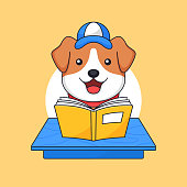 Dog reading book on classroom table animal school activity vector outline illustration mascot