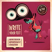 EPS 10 Vector poster illustration. Eexcited dog with telescope eyes cut a caper. alphabet is self-created. retro style. Used transparencies, opacityes and simple gradients. Easy to edit. Write your own text. RGB color mode. (include AI-CS3, EPS10, JPEG 2800x2800px)