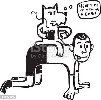 This is an illustration of a dog riding a boy.
