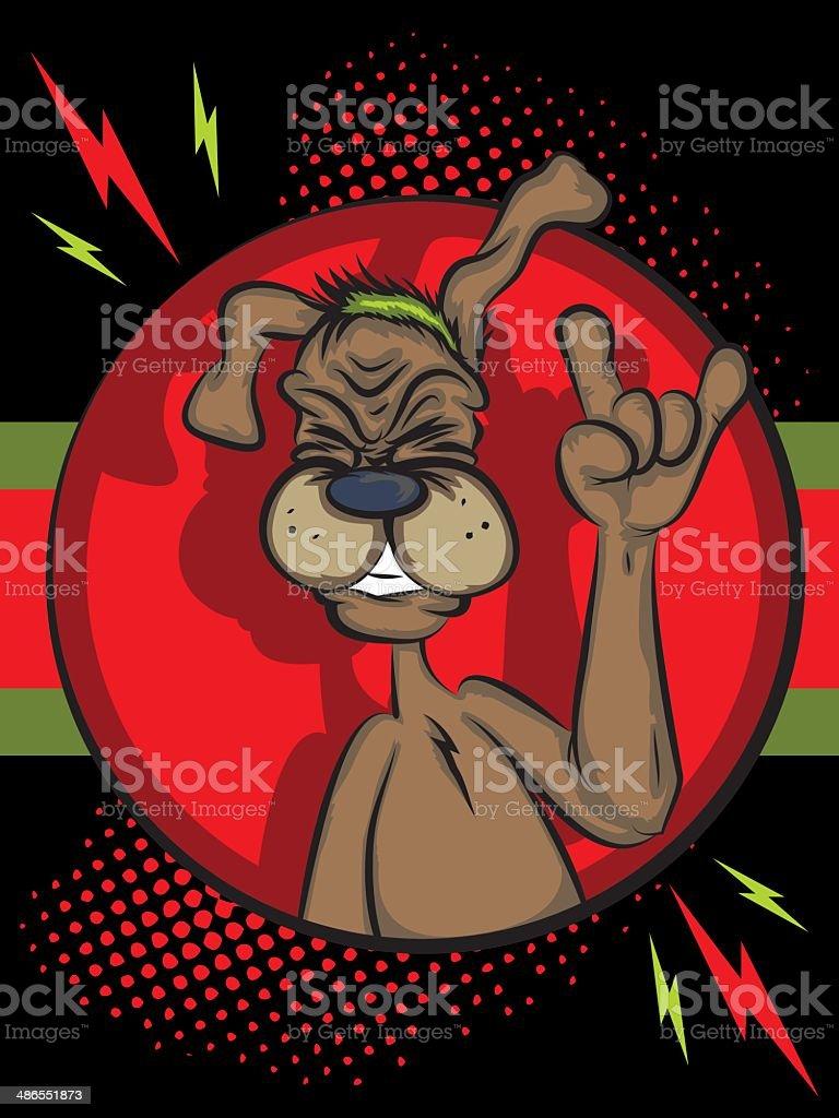 Dog Rocking Out vector art illustration