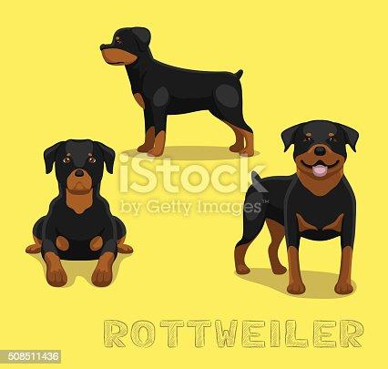 Dog Rottweiler Cartoon Vector Illustration