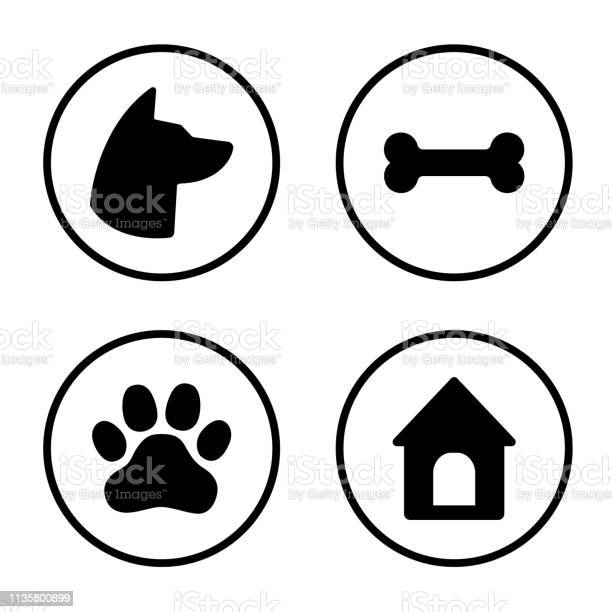 Dog round icons set dog head paw bone dog house vector vector id1135800899?b=1&k=6&m=1135800899&s=612x612&h=wpveuehq2afymb qqgf8cgb2ayjzhjaqekamcduha w=