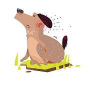 Dog scratching. Itchy Skin - vector