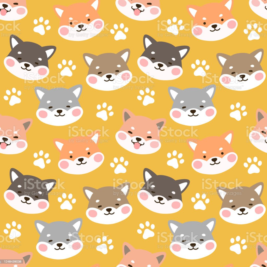 Dog Seamless Pattern Background Happy Shiba Inu With Dog Paw And Bone Stock Illustration Download Image Now Istock