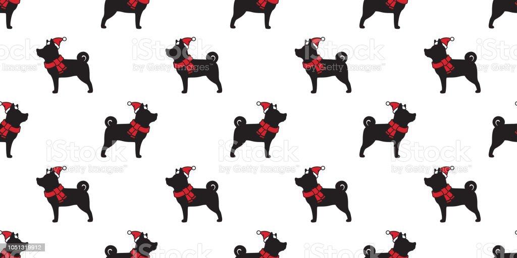 Hund Musterdesign Weihnachten Vektor Weihnachtsmann Xmas Mütze ...