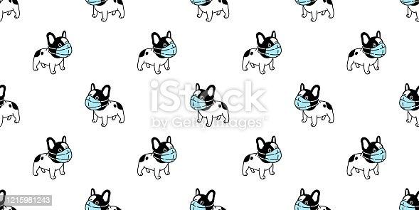 istock dog seamless pattern french bulldog face mask covid19 kitten coronavirus pm 25 vector pet puppy animal scarf isolated repeat wallpaper tile background cartoon doodle illustration black design 1215981243