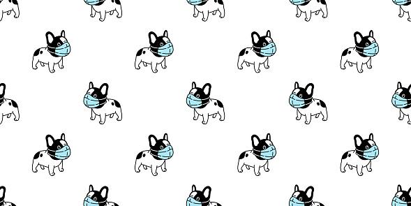 dog seamless pattern french bulldog face mask covid19 kitten coronavirus pm 25 vector pet puppy animal scarf isolated repeat wallpaper tile background cartoon doodle illustration black design