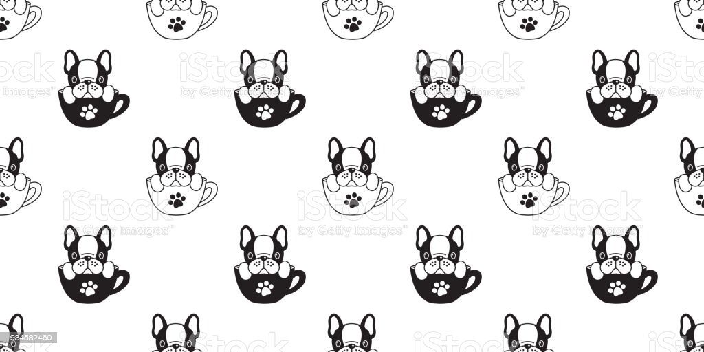 Dog Seamless Pattern French Bulldog Isolated Cup Paw Puppy Wallpaper