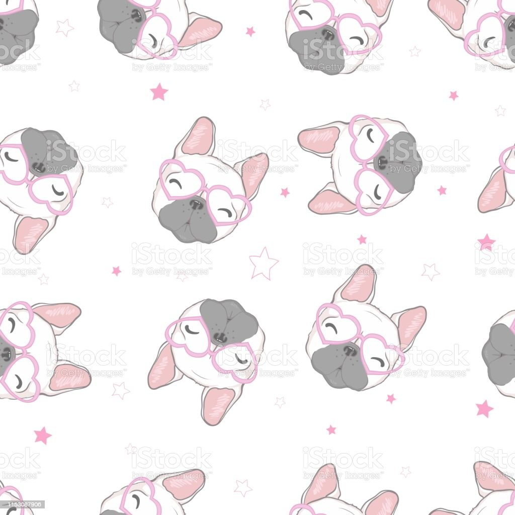 Dog Seamless Pattern French Bulldog Paw Vector Repeat Background Tile Cartoon Wallpaper Isolated Black Stock Illustration Download Image Now Istock