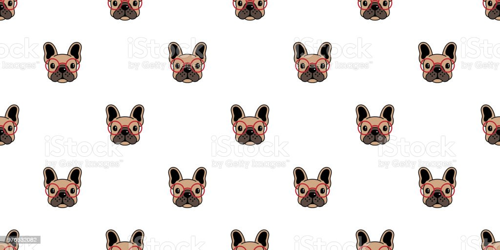 Dog Seamless Pattern French Bulldog Vector Pug Glasses Repeat